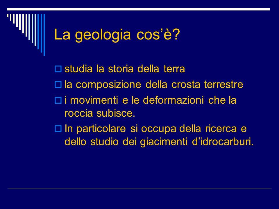 La geologia cos'è?  studia la storia della terra  la composizione della crosta terrestre  i movimenti e le deformazioni che la roccia subisce.  In