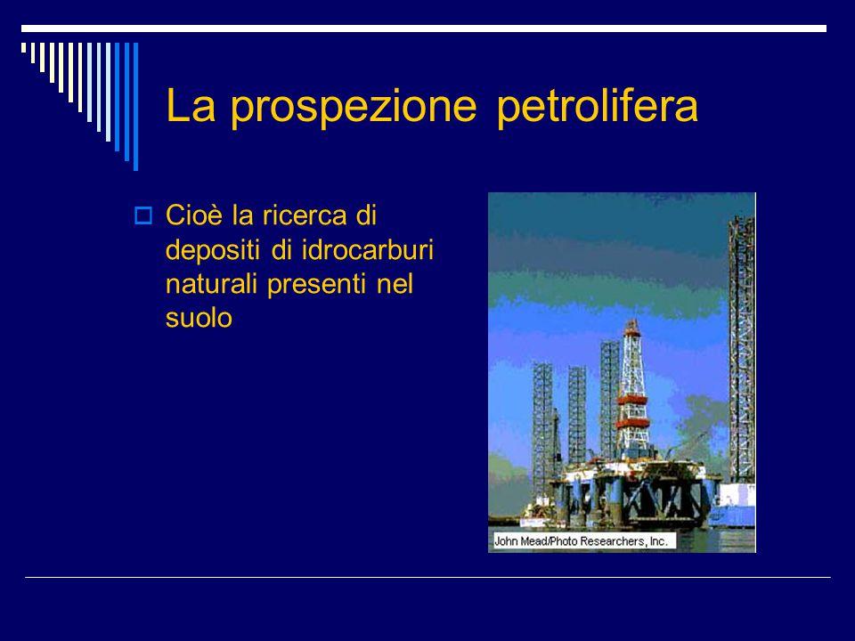 La prospezione petrolifera  Cioè la ricerca di depositi di idrocarburi naturali presenti nel suolo