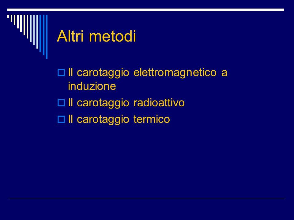 Altri metodi  Il carotaggio elettromagnetico a induzione  Il carotaggio radioattivo  Il carotaggio termico