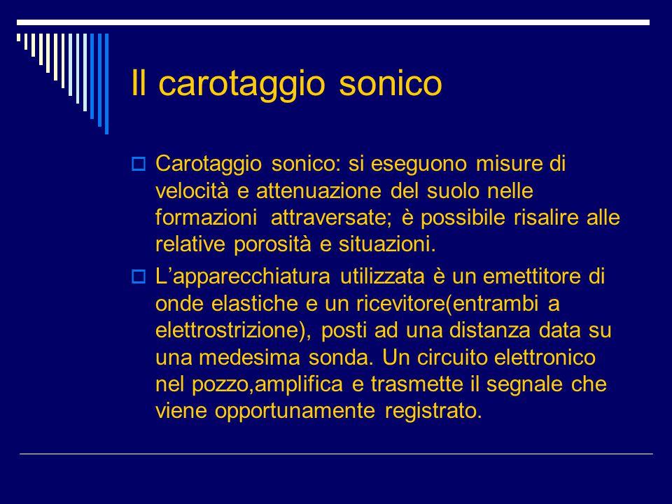 Il carotaggio sonico  Carotaggio sonico: si eseguono misure di velocità e attenuazione del suolo nelle formazioni attraversate; è possibile risalire