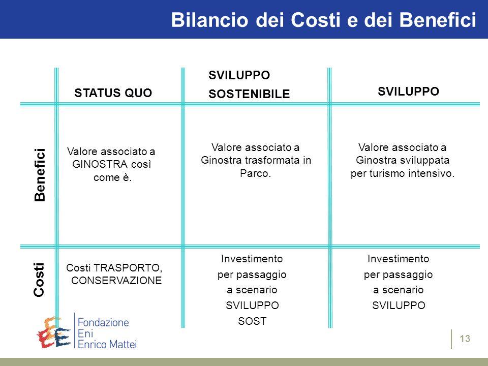 13 Bilancio dei Costi e dei Benefici STATUS QUO SVILUPPO SOSTENIBILE SVILUPPO Benefici Costi Investimento per passaggio a scenario SVILUPPO SOST Costi TRASPORTO, CONSERVAZIONE Valore associato a GINOSTRA così come è.
