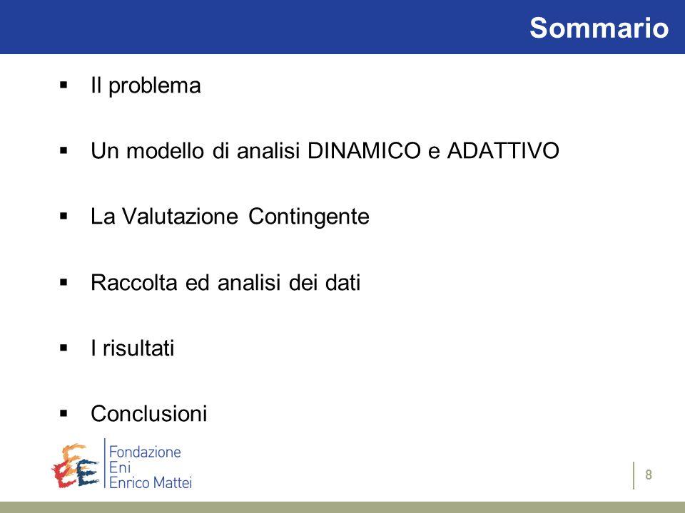 8 Sommario  Il problema  Un modello di analisi DINAMICO e ADATTIVO  La Valutazione Contingente  Raccolta ed analisi dei dati  I risultati  Conclusioni