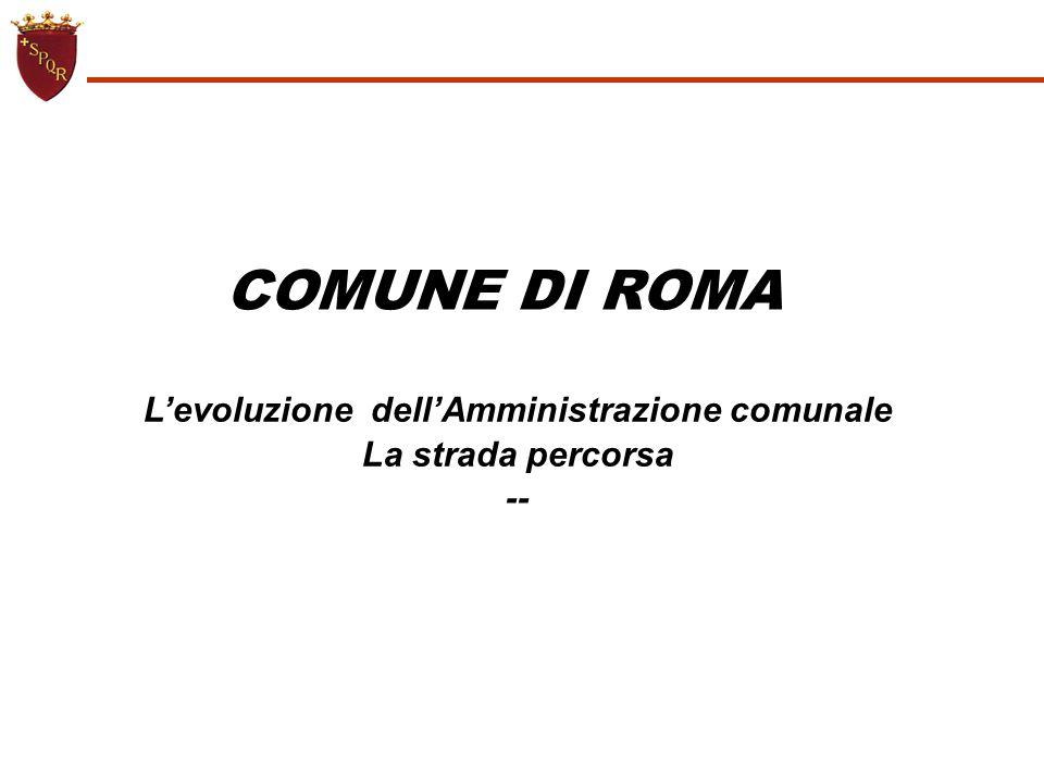 COMUNE DI ROMA L'evoluzione dell'Amministrazione comunale La strada percorsa --