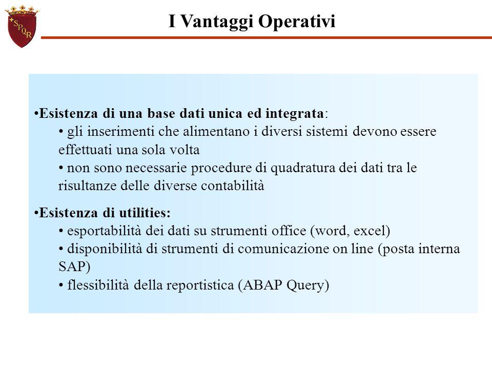 I Vantaggi Operativi Esistenza di una base dati unica ed integrata: gli inserimenti che alimentano i diversi sistemi devono essere effettuati una sola