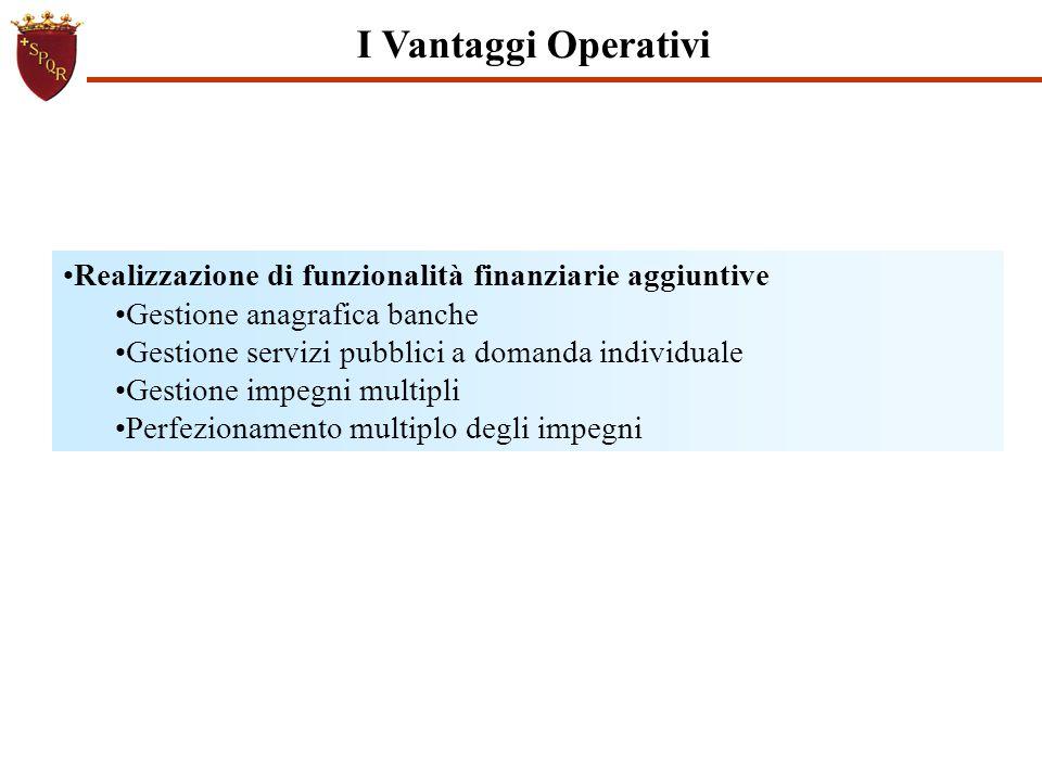 I Vantaggi Operativi Realizzazione di funzionalità finanziarie aggiuntive Gestione anagrafica banche Gestione servizi pubblici a domanda individuale G