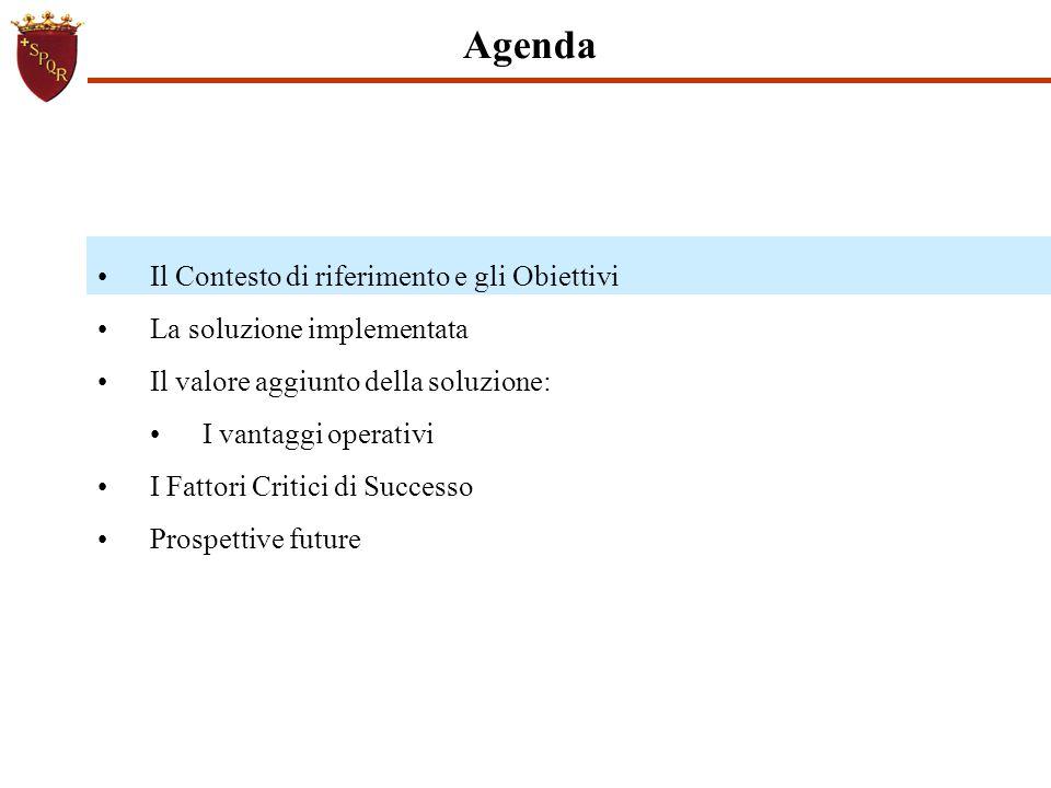 Il Contesto di riferimento e gli Obiettivi La soluzione implementata Il valore aggiunto della soluzione: I vantaggi operativi I Fattori Critici di Suc