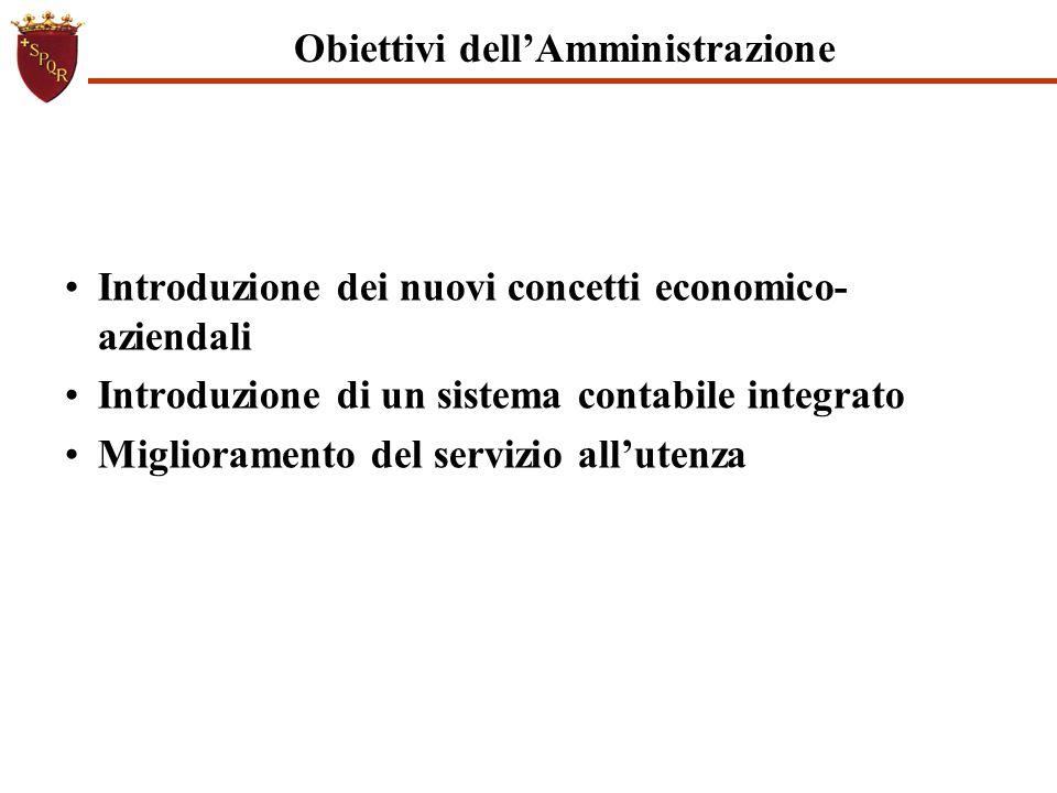 Obiettivi dell'Amministrazione Introduzione dei nuovi concetti economico- aziendali Introduzione di un sistema contabile integrato Miglioramento del s