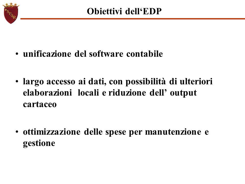 Obiettivi dell'EDP unificazione del software contabile largo accesso ai dati, con possibilità di ulteriori elaborazioni locali e riduzione dell' outpu
