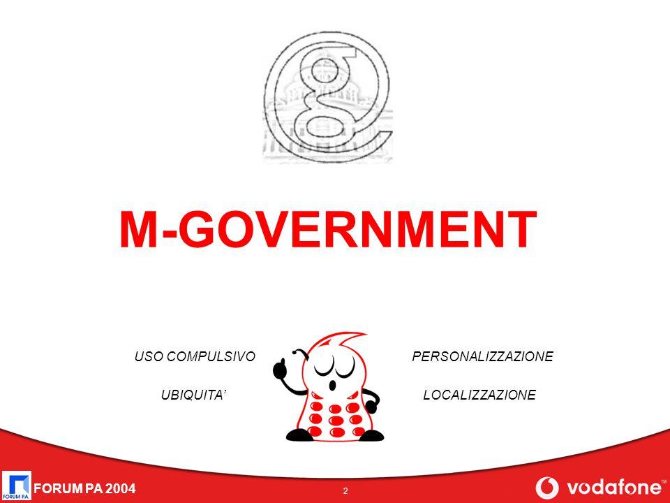 FORUM PA 2004 2 M-GOVERNMENT USO COMPULSIVO UBIQUITA' PERSONALIZZAZIONE LOCALIZZAZIONE
