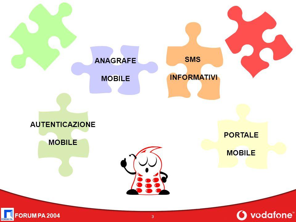 FORUM PA 2004 3 AUTENTICAZIONE MOBILE ANAGRAFE MOBILE SMS INFORMATIVI PORTALE MOBILE