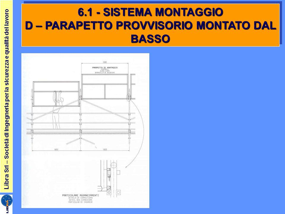 Libra Srl – Società di ingegneria per la sicurezza e qualità del lavoro 6.1 - SISTEMA MONTAGGIO D – PARAPETTO PROVVISORIO MONTATO DAL BASSO