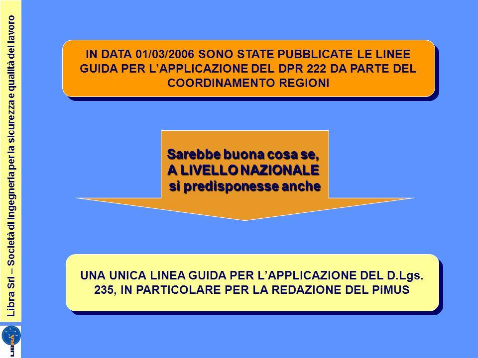 Libra Srl – Società di ingegneria per la sicurezza e qualità del lavoro IN DATA 01/03/2006 SONO STATE PUBBLICATE LE LINEE GUIDA PER L'APPLICAZIONE DEL DPR 222 DA PARTE DEL COORDINAMENTO REGIONI UNA UNICA LINEA GUIDA PER L'APPLICAZIONE DEL D.Lgs.