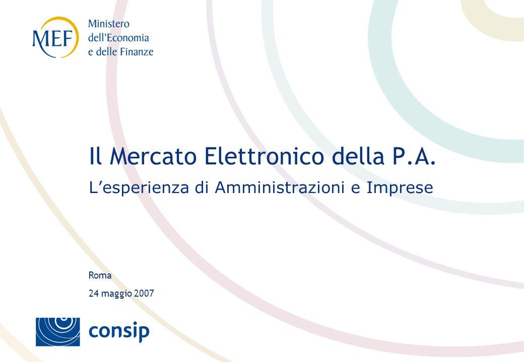 Roma 24 maggio 2007 Il Mercato Elettronico della P.A. L'esperienza di Amministrazioni e Imprese