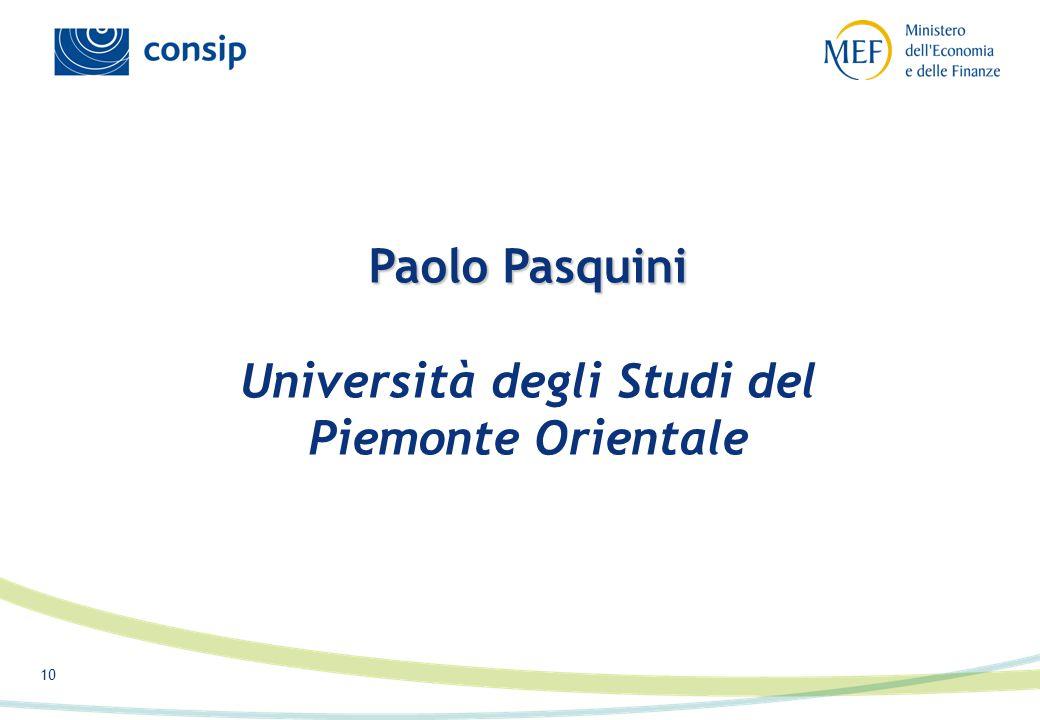 10 Paolo Pasquini Paolo Pasquini Università degli Studi del Piemonte Orientale