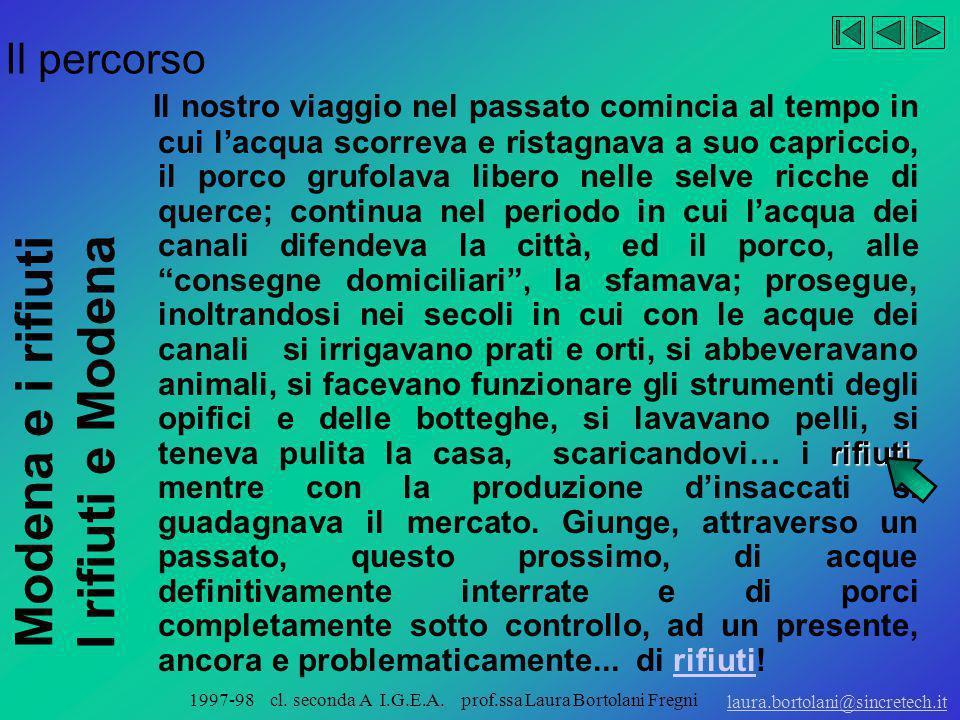 Modena e i rifiuti I rifiuti e Modena laura.bortolani@sincretech.it 1997-98 cl. seconda A I.G.E.A. prof.ssa Laura Bortolani Fregni acque Modena è semp