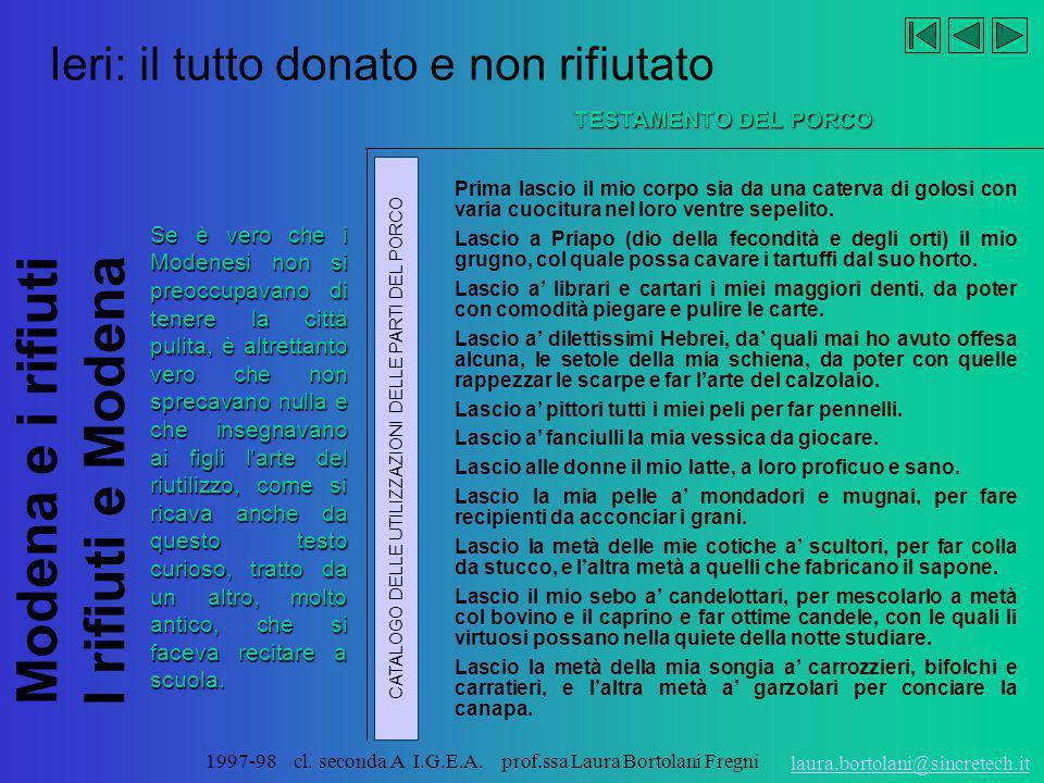Modena e i rifiuti I rifiuti e Modena laura.bortolani@sincretech.it 1997-98 cl. seconda A I.G.E.A. prof.ssa Laura Bortolani Fregni Riflessi di acque c