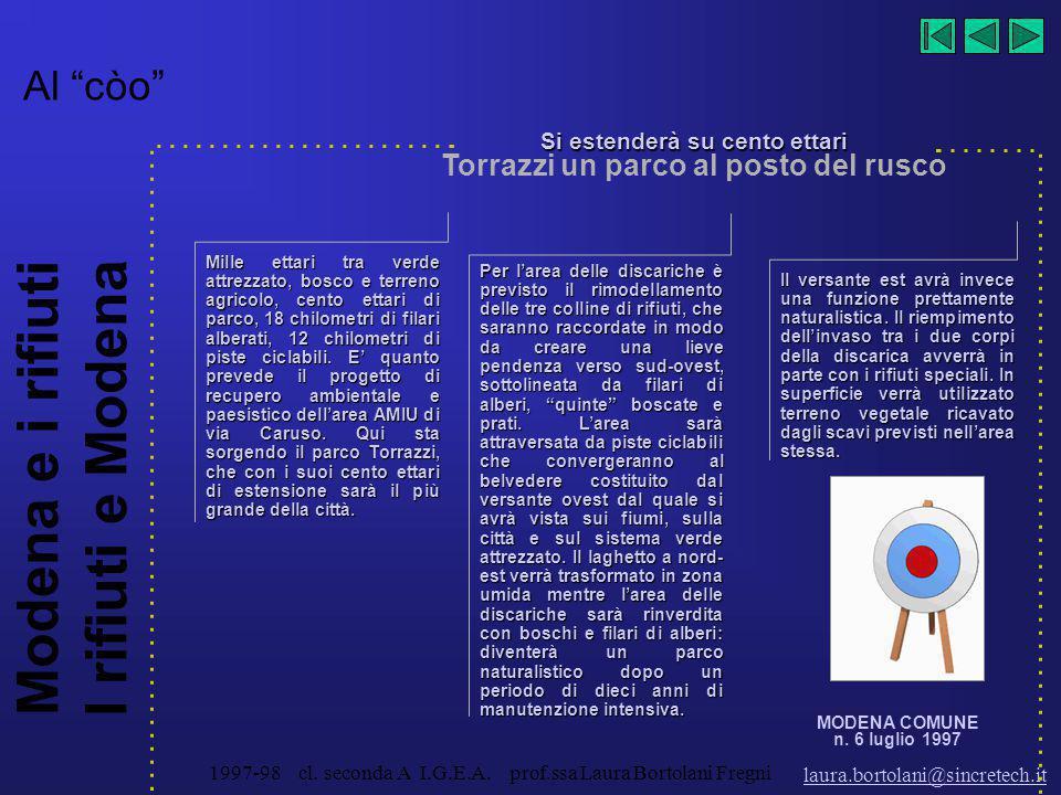 Modena e i rifiuti I rifiuti e Modena laura.bortolani@sincretech.it 1997-98 cl. seconda A I.G.E.A. prof.ssa Laura Bortolani Fregni Domani: il tutto no