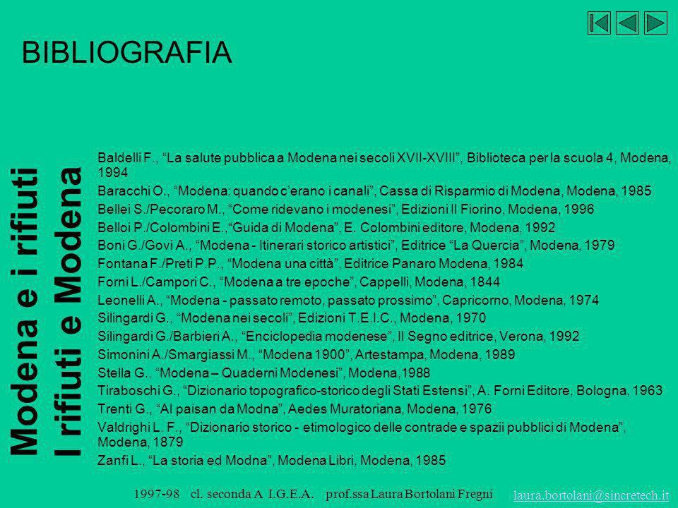 Modena e i rifiuti I rifiuti e Modena laura.bortolani@sincretech.it 1997-98 cl. seconda A I.G.E.A. prof.ssa Laura Bortolani Fregni Il versante est avr