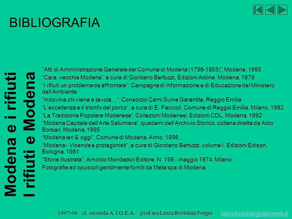 Modena e i rifiuti I rifiuti e Modena laura.bortolani@sincretech.it 1997-98 cl. seconda A I.G.E.A. prof.ssa Laura Bortolani Fregni BIBLIOGRAFIA Baldel