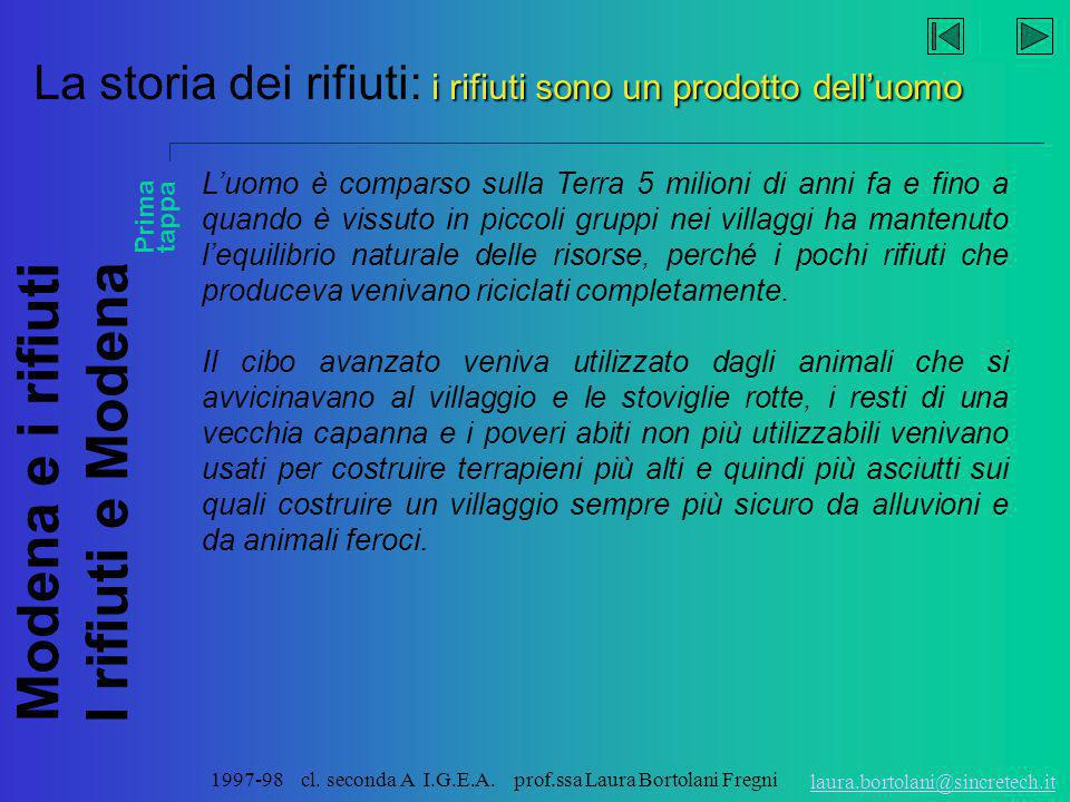 Modena e i rifiuti I rifiuti e Modena laura.bortolani@sincretech.it 1997-98 cl. seconda A I.G.E.A. prof.ssa Laura Bortolani Fregni Modena parla in dia