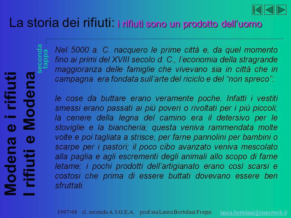 Modena e i rifiuti I rifiuti e Modena laura.bortolani@sincretech.it 1997-98 cl. seconda A I.G.E.A. prof.ssa Laura Bortolani Fregni La storia dei rifiu