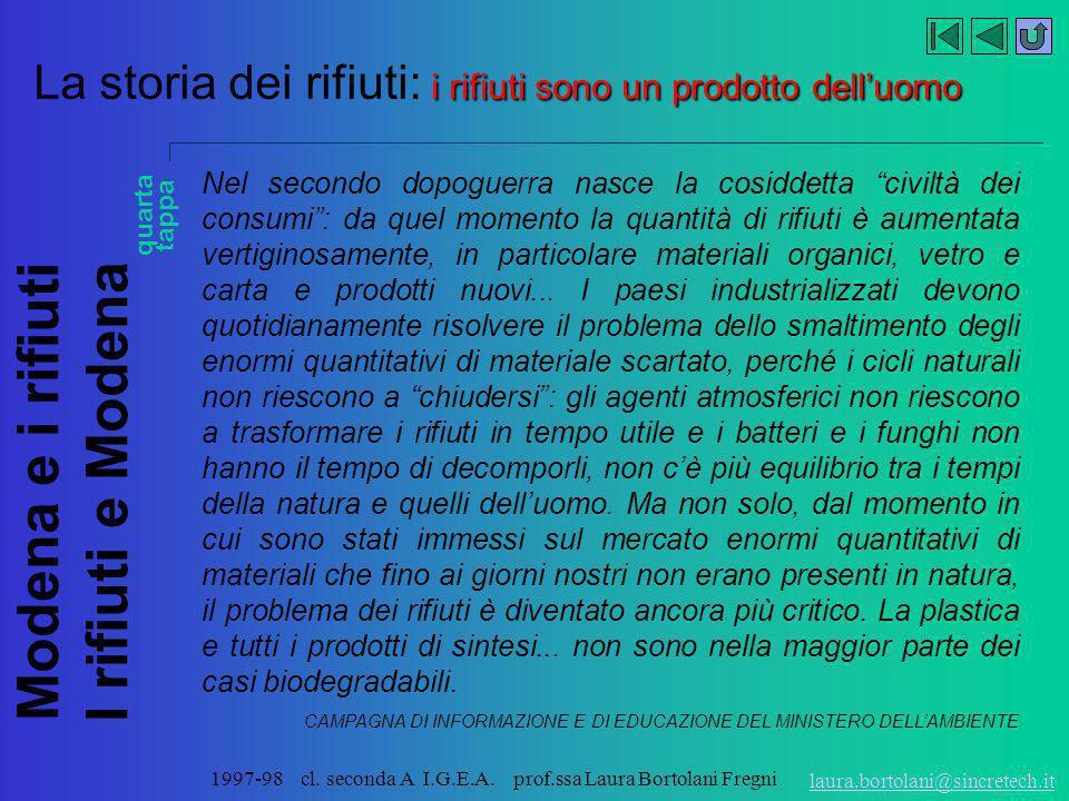 Modena e i rifiuti I rifiuti e Modena laura.bortolani@sincretech.it 1997-98 cl. seconda A I.G.E.A. prof.ssa Laura Bortolani Fregni i rifiuti sono un p