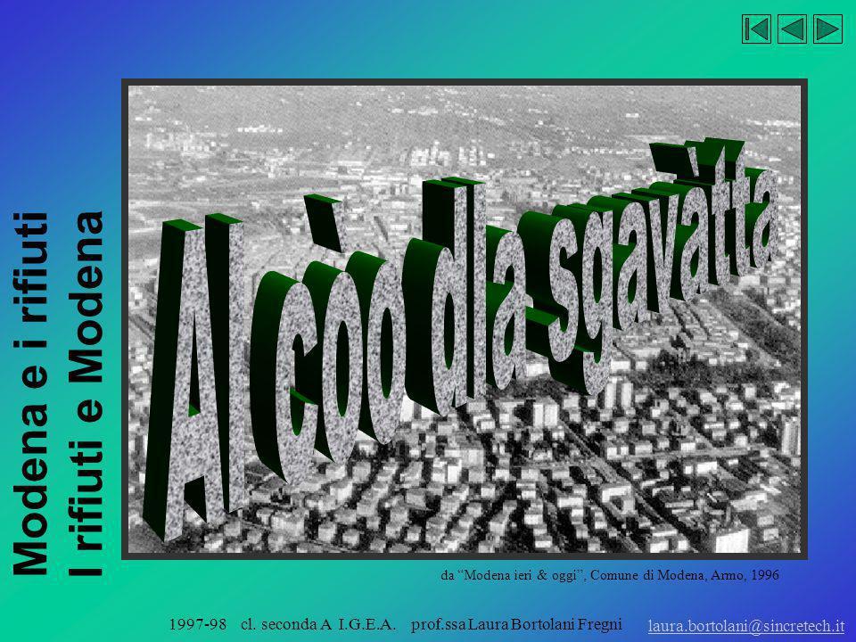 Modena e i rifiuti I rifiuti e Modena laura.bortolani@sincretech.it 1997-98 cl. seconda A I.G.E.A. prof.ssa Laura Bortolani Fregni 1997-98 seconda A I