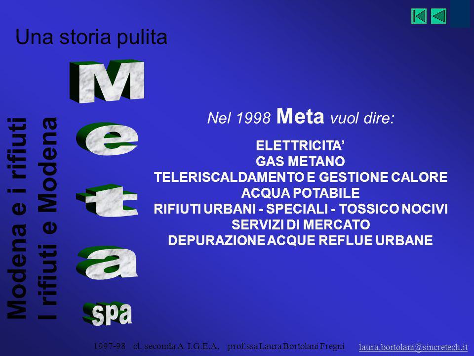 Modena e i rifiuti I rifiuti e Modena laura.bortolani@sincretech.it 1997-98 cl. seconda A I.G.E.A. prof.ssa Laura Bortolani Fregni Una storia pulita: