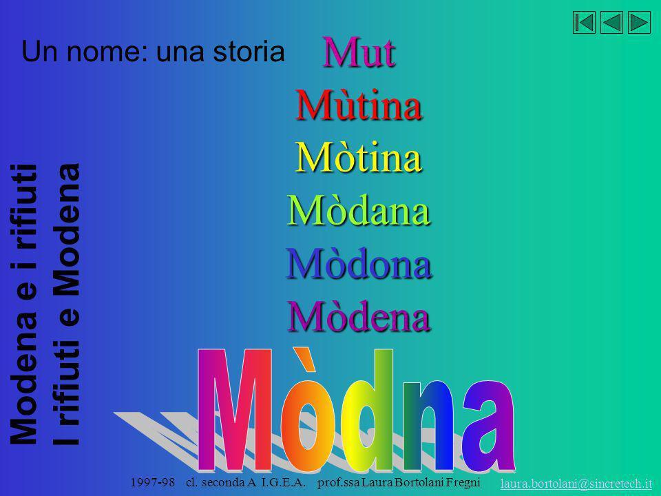 Modena e i rifiuti I rifiuti e Modena laura.bortolani@sincretech.it 1997-98 cl. seconda A I.G.E.A. prof.ssa Laura Bortolani Fregni A i avi da savèr ch
