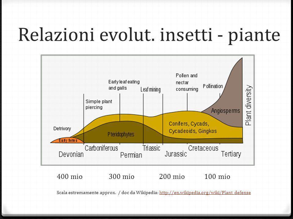 Relazioni evolut.insetti - piante 400 mio 300 mio 200 mio 100 mio Scala estremamente approx.