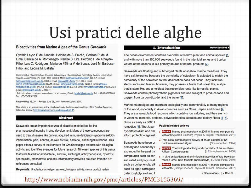 Usi pratici delle alghe http://www.ncbi.nlm.nih.gov/pmc/articles/PMC3155369/
