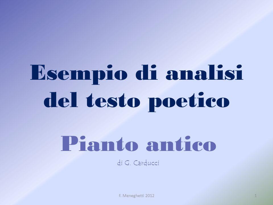 Esempio di analisi del testo poetico Pianto antico di G. Carducci 1F. Meneghetti 2012