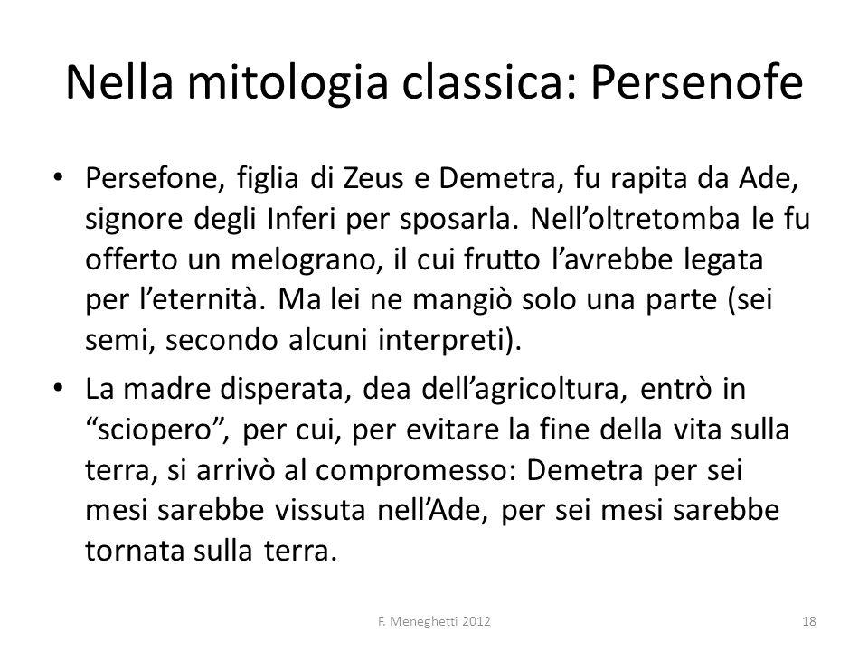 Nella mitologia classica: Persenofe Persefone, figlia di Zeus e Demetra, fu rapita da Ade, signore degli Inferi per sposarla. Nell'oltretomba le fu of