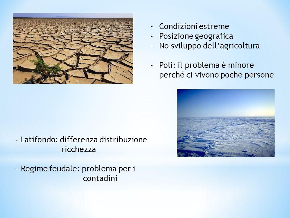 -Condizioni estreme -Posizione geografica -No sviluppo dell'agricoltura -Poli: il problema è minore perché ci vivono poche persone - Latifondo: differ