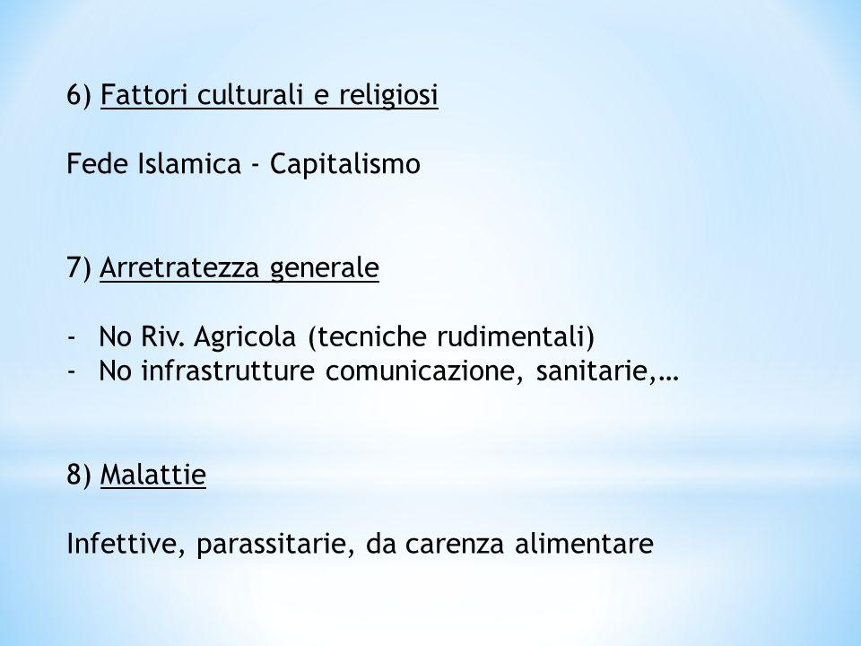 6) Fattori culturali e religiosi Fede Islamica - Capitalismo 7) Arretratezza generale -No Riv. Agricola (tecniche rudimentali) -No infrastrutture comu