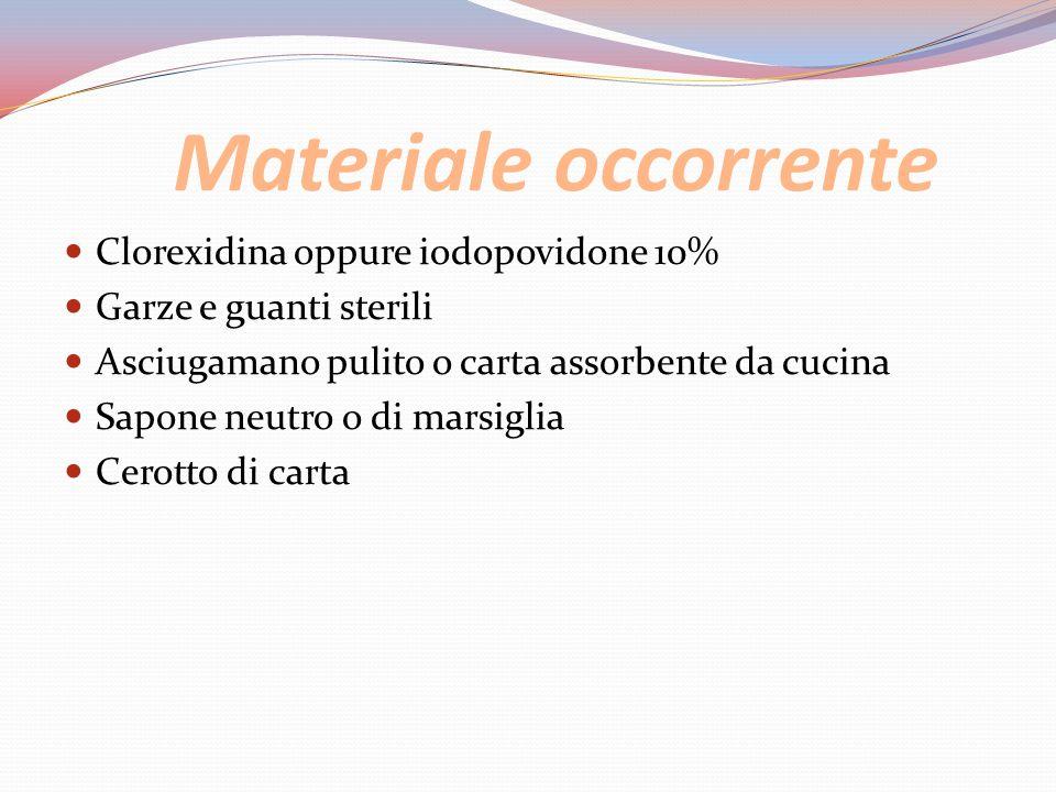 Materiale occorrente Clorexidina oppure iodopovidone 10% Garze e guanti sterili Asciugamano pulito o carta assorbente da cucina Sapone neutro o di mar