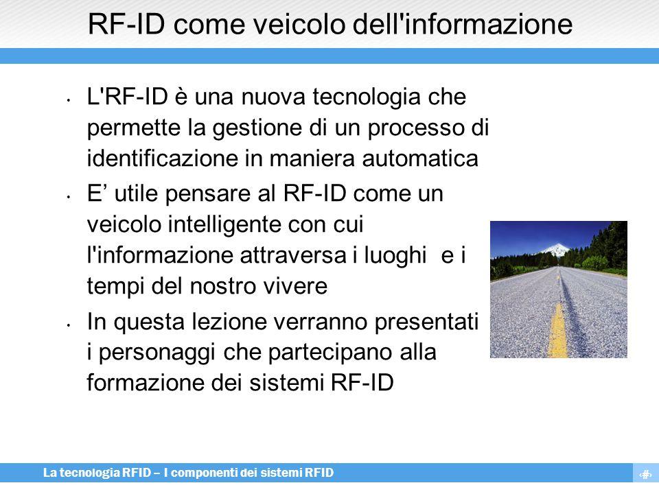 3 La tecnologia RFID – I componenti dei sistemi RFID Obiettivi delle lezioni Mettere a fuoco gli elementi costitutivi di un sistema RF-ID Apprendere i principi di comunicazione dei transponder e dei reader Conoscere le principali tipologie di componenti e di apparati RF-ID e i loro campi di applicazione