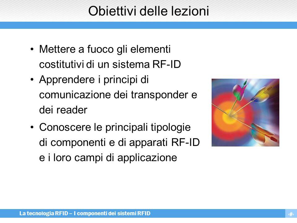 3 La tecnologia RFID – I componenti dei sistemi RFID Obiettivi delle lezioni Mettere a fuoco gli elementi costitutivi di un sistema RF-ID Apprendere i