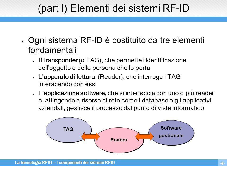 4 La tecnologia RFID – I componenti dei sistemi RFID (part I) Elementi dei sistemi RF-ID  Ogni sistema RF-ID è costituito da tre elementi fondamental