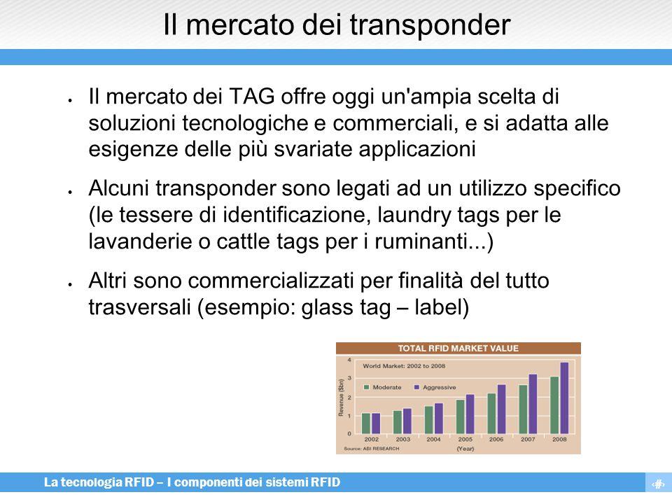 6 La tecnologia RFID – I componenti dei sistemi RFID Il mercato dei transponder  Il mercato dei TAG offre oggi un'ampia scelta di soluzioni tecnologi