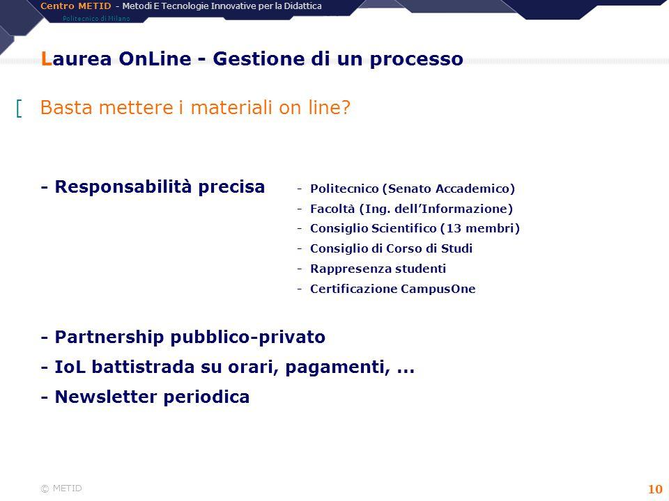 Centro METID - Metodi E Tecnologie Innovative per la Didattica Politecnico di Milano © METID 10 Laurea OnLine - Gestione di un processo - Responsabili