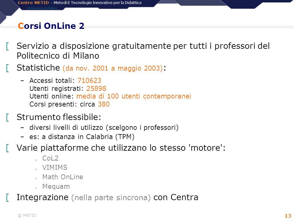 Centro METID - Metodi E Tecnologie Innovative per la Didattica Politecnico di Milano © METID 13 Corsi OnLine 2 [Servizio a disposizione gratuitamente