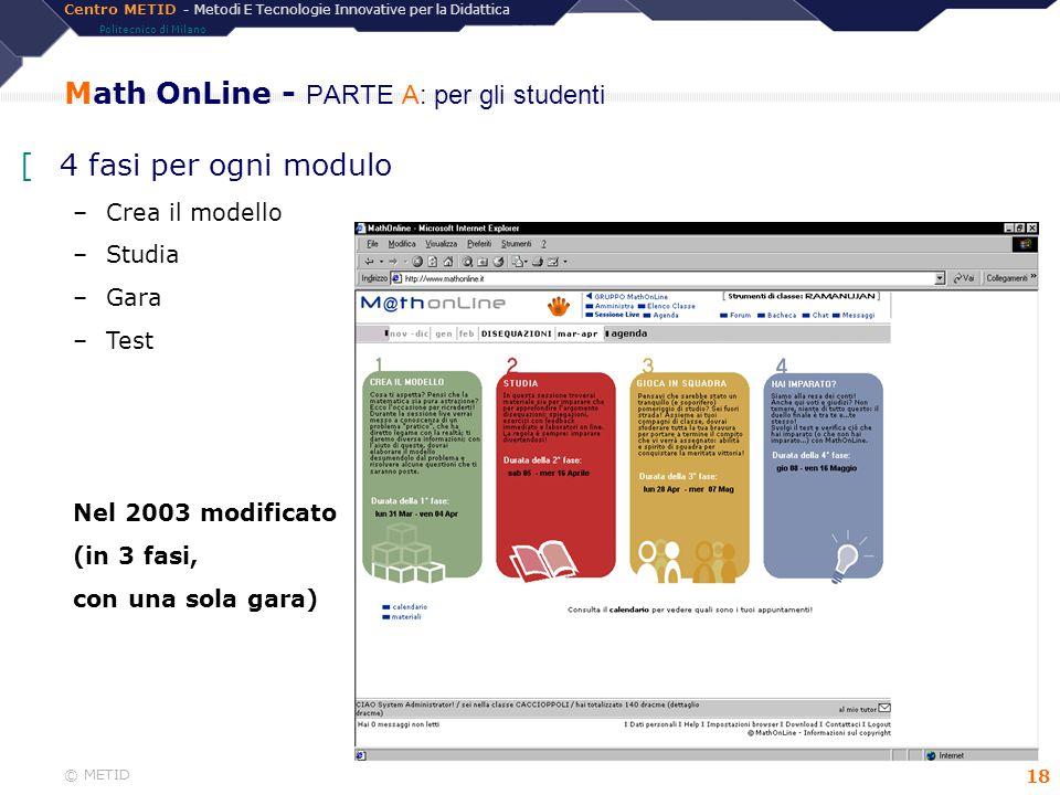 Centro METID - Metodi E Tecnologie Innovative per la Didattica Politecnico di Milano © METID 18 Math OnLine - PARTE A: per gli studenti [4 fasi per og