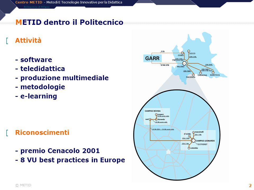 Centro METID - Metodi E Tecnologie Innovative per la Didattica Politecnico di Milano © METID 3 Il Centro METID [Alcuni progetti - Laurea OnLine - CoL 2 - Math OnLine - Master NBA