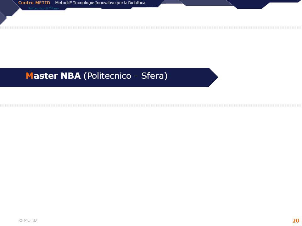 Centro METID - Metodi E Tecnologie Innovative per la Didattica Politecnico di Milano © METID 20 Master NBA (Politecnico - Sfera)
