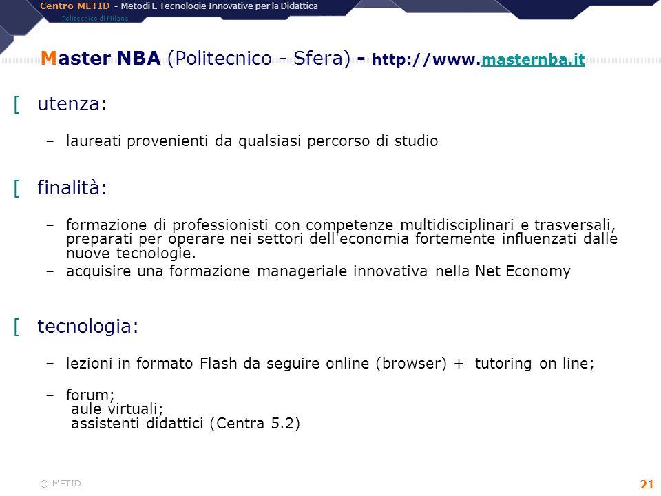 Centro METID - Metodi E Tecnologie Innovative per la Didattica Politecnico di Milano © METID 21 [utenza: –laureati provenienti da qualsiasi percorso d