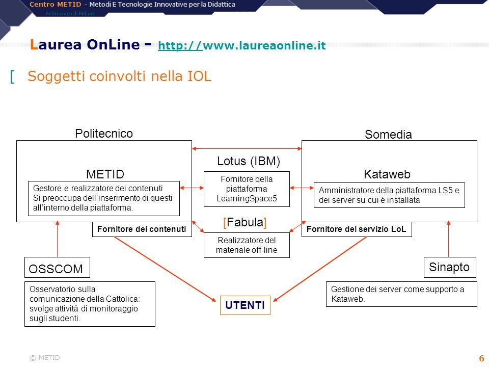 Centro METID - Metodi E Tecnologie Innovative per la Didattica Politecnico di Milano © METID 7 Laurea OnLine - Formato didattico (i) Off-line (CD) (ii) On-Line asincrono (iii) On-Line sincrono - Progettazione del formato - Produzione (team e ruoli) - Difficoltà per il docente [Come sono veicolati i contenuti?