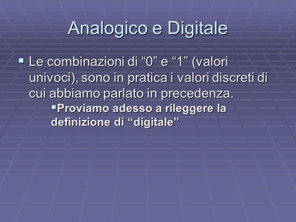 """ Le combinazioni di """"0"""" e """"1"""" (valori univoci), sono in pratica i valori discreti di cui abbiamo parlato in precedenza. Analogico e Digitale  Provia"""