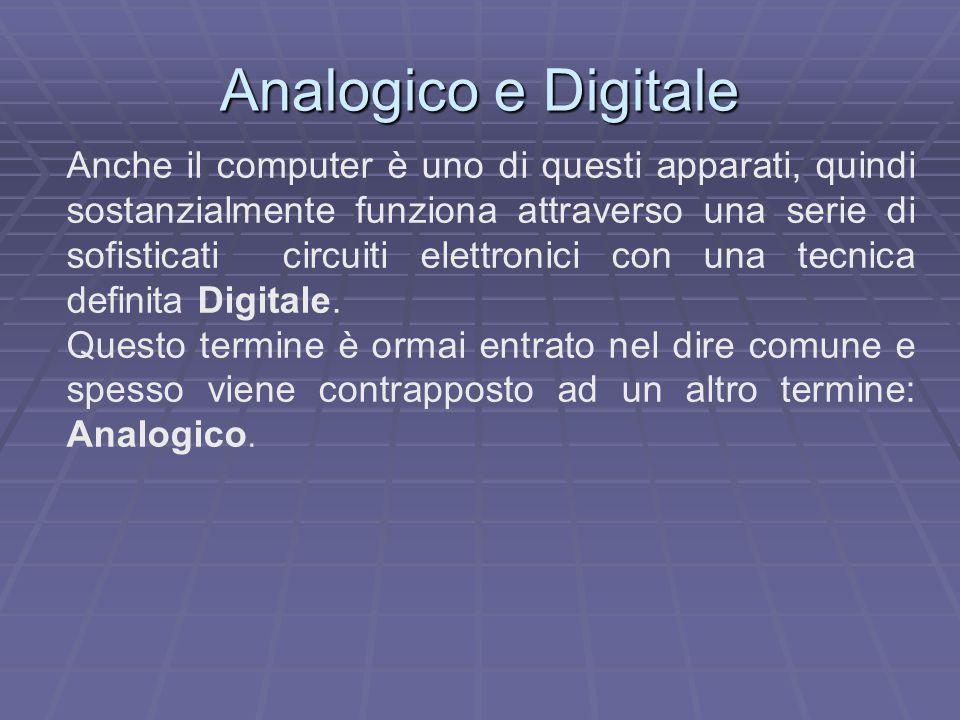 Analogico e Digitale Anche il computer è uno di questi apparati, quindi sostanzialmente funziona attraverso una serie di sofisticati circuiti elettron