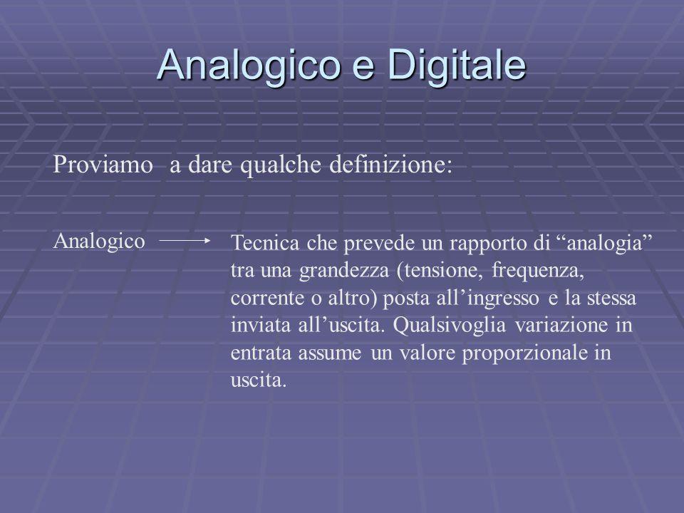"""Analogico Tecnica che prevede un rapporto di """"analogia"""" tra una grandezza (tensione, frequenza, corrente o altro) posta all'ingresso e la stessa invia"""